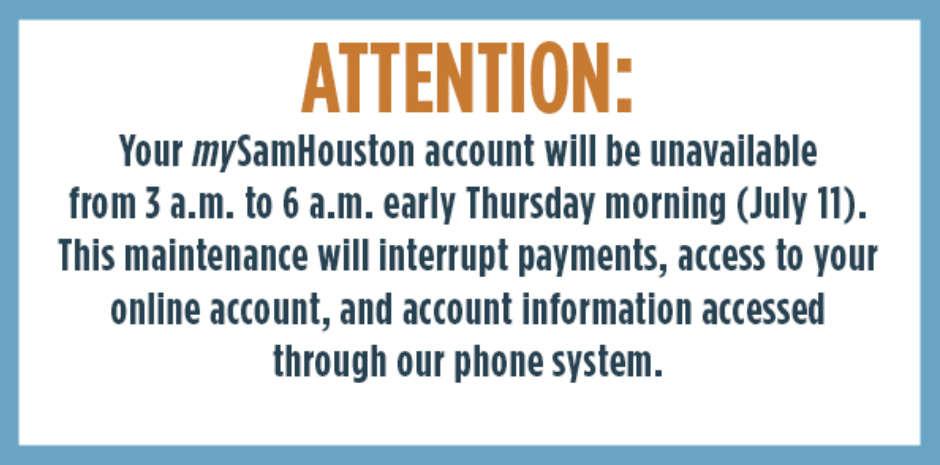 mySamHouston Account Maintenance Overnight