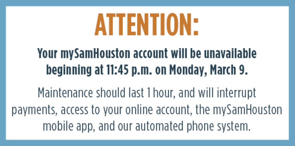 mySam Houston Account Maintenance March 9