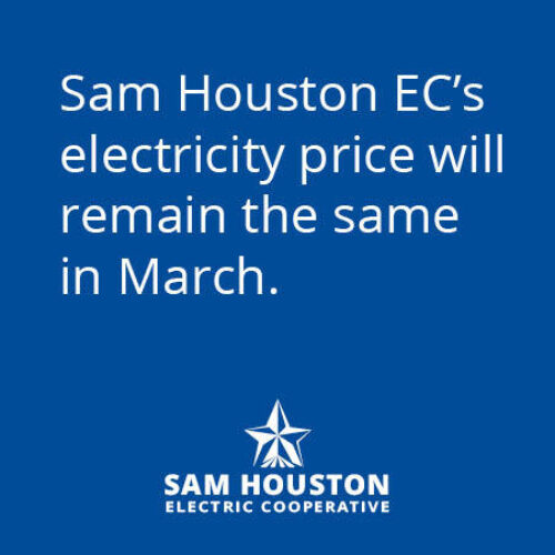 Sam Houston EC's Electricity Price Will Remain the Same in March